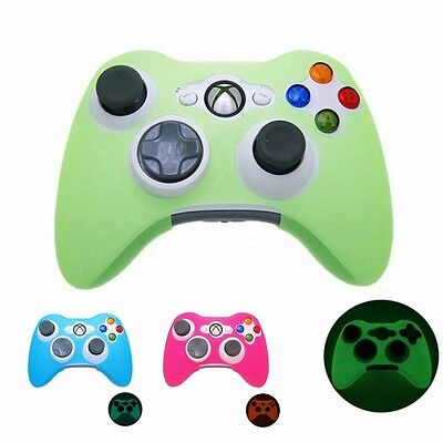 Soft Silicone Case Skin Protector Glow in Dark Cover For Xbox 360 Controller CA