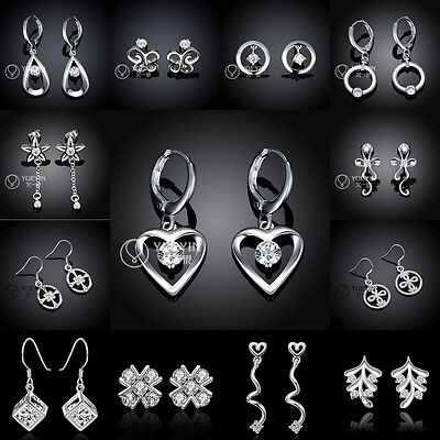Wholesale New Solid Silver Lady/Womens's 925Silver Earrings Dangle/Stud+gift box