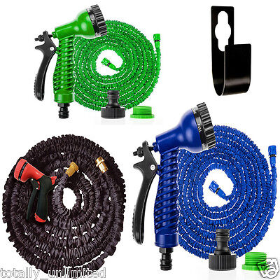 100ft Expanding Flexible Expandable Garden Water Hose Pipe + Spray Nozzle
