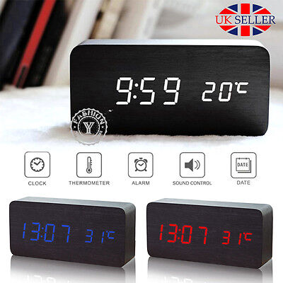 【Voice Control Calendar Thermometer】Wooden Wood LED Digital Alarm Clock USB/AAA