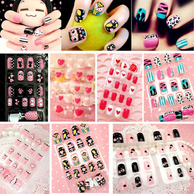 New Multicolor French False Nails Art Design Nail Tips With Glue 24pcs/Pack