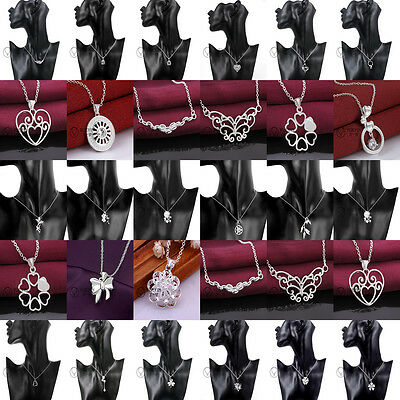 Wholesale Womens's Solid 925Silver Jewelry Pendant Necklace Chain Jewellery +box