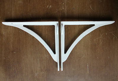 "Pair of White 8"" CAST IRON VICTORIAN IRONBRIDGE SHELF CISTERN BRACKETS ANTIQUE"