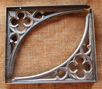 "2 x 8x7"" CAST IRON VICTORIAN SHELF CISTERN BRACKETS GOTHIC HEAVY PEWTER BR09px2"