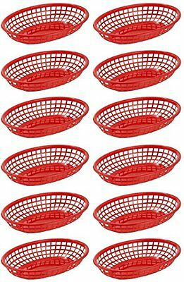 "Red Restaurant Quality Food Baskets 9 1/4"" x 5 3/4"" Perfect Outdoor Picnics 12"