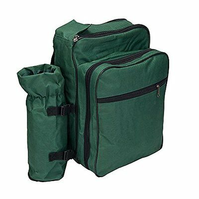 Picnic Backpack Basket for 2 Person With Insulated Bag Cooler CompartmentGreen