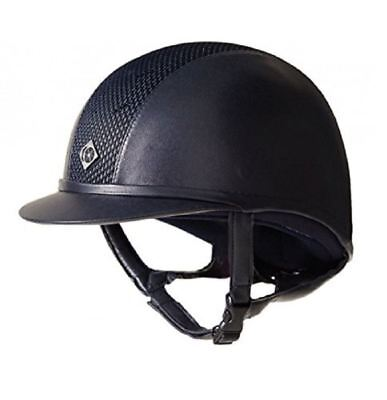 Charles Owen Leather Look AYR8 Riding Helmet - Navy/Silver - PAS 015 and ASTM