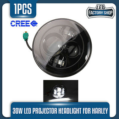 1X 7 Inch Cree 30W Harley Davidson Projector Headlight Motorcycle Bike Lamp