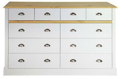 4+6 Grey With Pine Top Large Chest Of Drawers Modern Classic Style Metal Handles