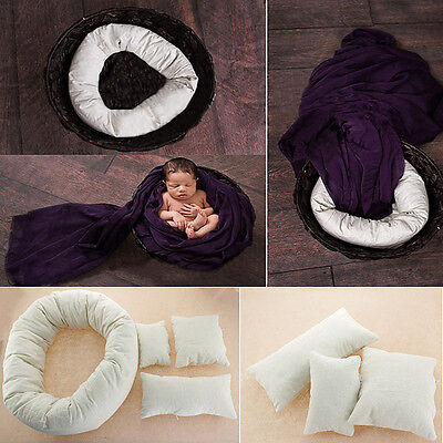 4x Newborn Baby Girls Boys Infant Soft Cotton Pillow Photography Photo Prop New