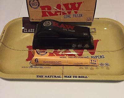 *NEW RAW ROLLING PAPERS 1 1/4 SIZE CONE FILLER Bundle With Tray & Cone