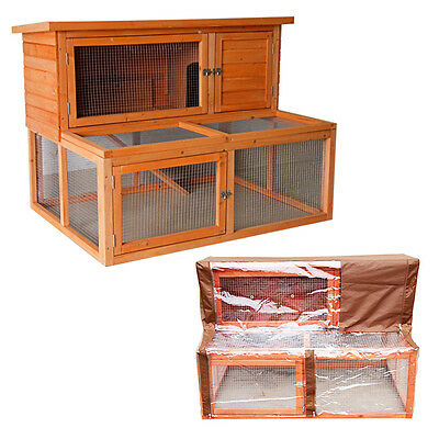4Ft Large Rabbit Hutch With Run And Cover Guinea Pig Wooden Pet House 2 Tier