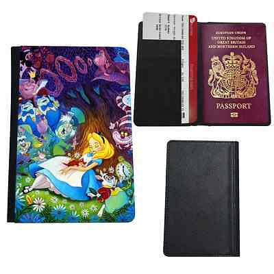 Alice In Wonderland Printed Faux Leather Passport Holder Cover Case
