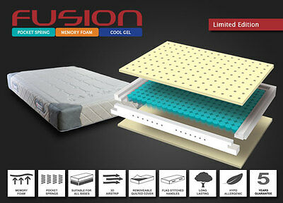 Fusion Memory Foam Cool Gel Mattress Your China YC Double 4'6 1000 Pocket Spring