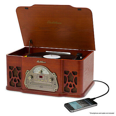 Electrohome Vinyl Record Player Classic Turntable With Radio, CD, AUX Input