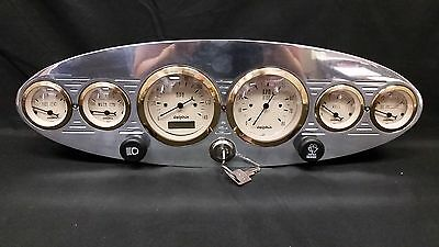 6 Gauge Universal Oval Dash Cluster With Switches Gold