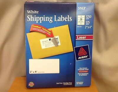 "Avery 5163 White Shipping Labels 1250 Labels 2""x4"" Laser W/ Trueblock"