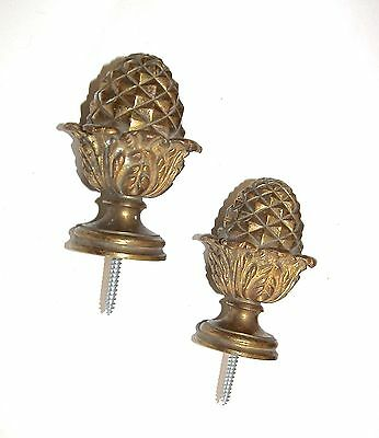 Pair Large Antique French Solid Gilt Bronze Pineapple Acorn Finials
