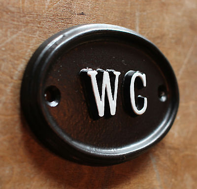 WC Toilet Door Sign Ladies & Gents Bathroom Loo Vintage Cast Black BATH-09-bl