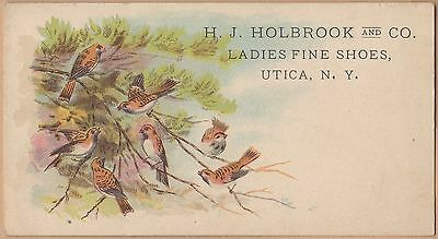 Victorian Trade Card-H J Holbrook & Co-Ladies Fine Shoes-Utica, NY-Birds