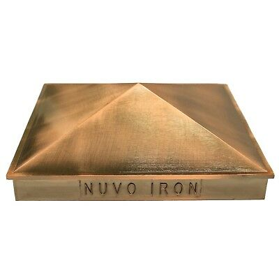 "NUVO IRON 7.5""x 7.5"" or 8"" x 8"" PYRAMID ORNAMENTAL ALUMINIUM POST CAP COPPER"