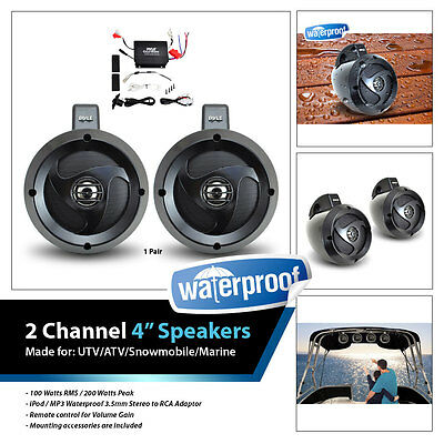 Pyle 2 Channel Waterproof 4''UTV/ATV/Snowmobile/Marine Amplified Speaker System