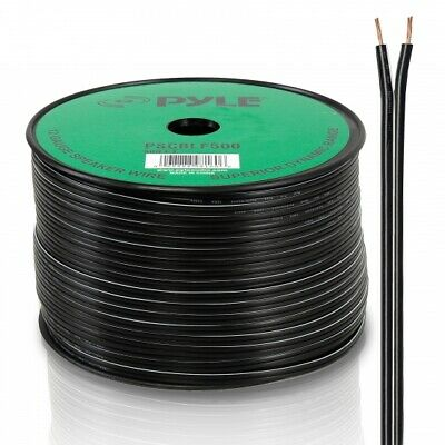 NEW Pyle PSCBLF500 500Ft 12 AWG Spool Speaker Cable W/ Rubber Jacket
