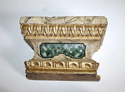 Italian Antique Carved Wood Parcel Gilt Painted Architectural Wall Shelf Bracket