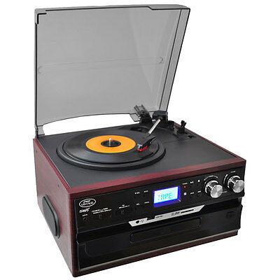 Vintage Classic Style Turntable Vinyl Record Player with Recording Ability