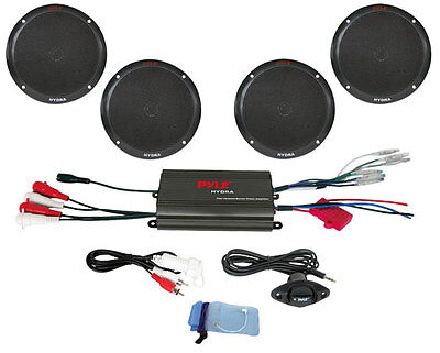 Pyle PLMRKT4B 4 Channel 800 Watt Waterproof Micro Marine Amp 4 x 6.5'' Speakers