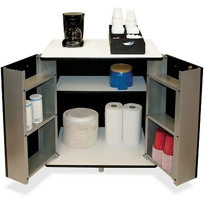 Refreshment Stand, Two-Shelf, 29 1/2w x 21d x 33h, Black/White