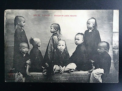CP carte postale Indo Chine Tonkin Groupe de petits becons