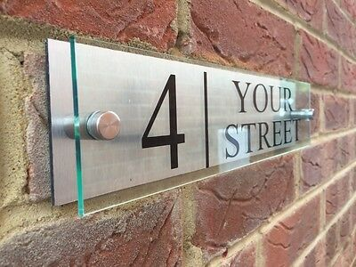 Modern House Sign Plaque Door Number Street Name Glass Effect Acrylic Aluminium