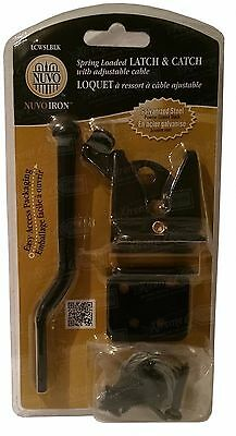 Nuvo Iron Spring Loaded LATCH & CATCH with adjustable cable Part # LCWSLBLK