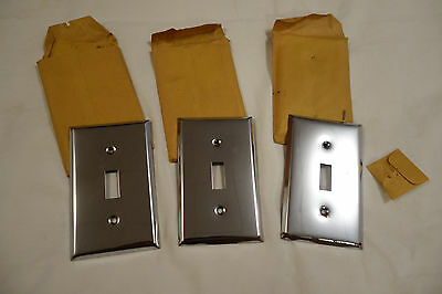 3 Vintage CHROME FINISH Light Switch Plate Covers Heavy NOS w spots