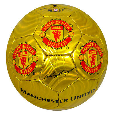 Manchester United Fc Gold Colour Signature Football Adult Size 5 New Xmas Gift