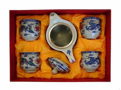 5PCS of Chinese Ceramic Tea Set with Dragon Phoenix Pictures
