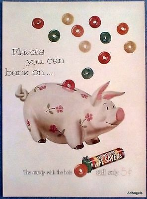 1952 Life Savers Hard Candy Ceramic Piggy Bank Pink Flower Flavors Bank On ad