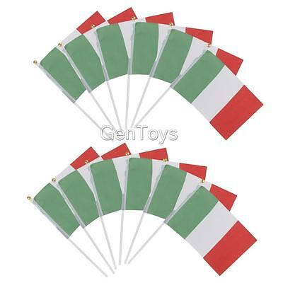 12pcs Small Hand Waving Italy Flags w/ Flagpoles Italy National Flag Pride
