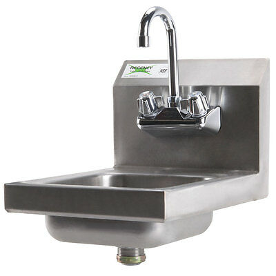"12"" x 16"" Wall Mounted Stainless Steel Hand Sink with 8"" Gooseneck Faucet"