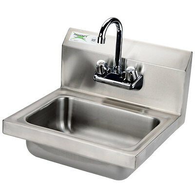 "Regency Wall Mounted NSF Hand Sink with Gooseneck Faucet - 17"" x 15"""