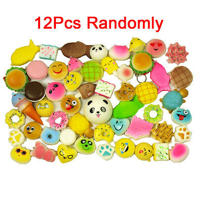 MS 12Pcs Soft Kawaii Squishy Foods Panda Bun Toasts Donuts Cell Phone Chain Gift
