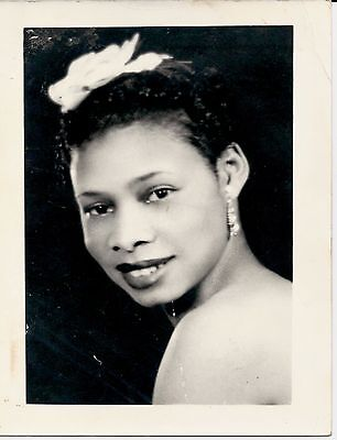 Antique African-American Woman Glamour Headshot Large Old Photo Black Americana