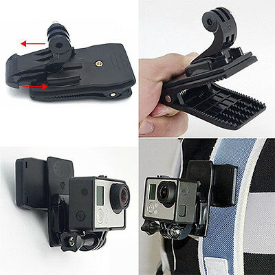 360 Rotary Backpack Hat Mounts Clip Fast Clamp Mount Camera Holder Easy