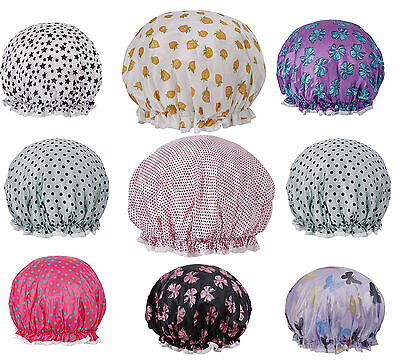 Women's Lovely Waterproof Double Layered Reusable Bathing Shower Cap