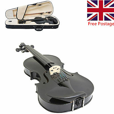 Fashion Music 4/4 Full Size Natural Acoustic Wood Violin Fiddle + Case Bow Black