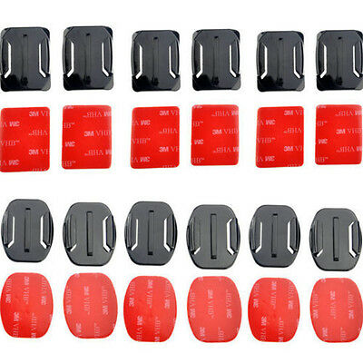 12pcs Camer elmet Flat Curved Adhesive Mount For Extreme Sports Camera Top