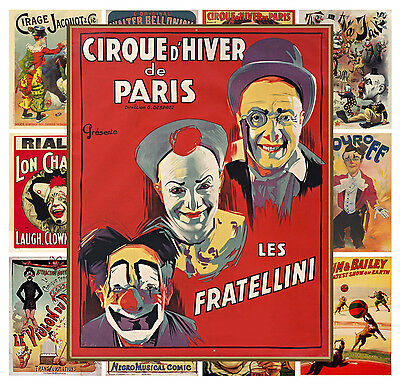 Mini Posters 13 Pages 8x11 A4 Vintage Circus Clown Poster