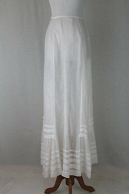 Antique Victorian Edwardian Long White Pintucked Sheer Cotton Voile Skirt S
