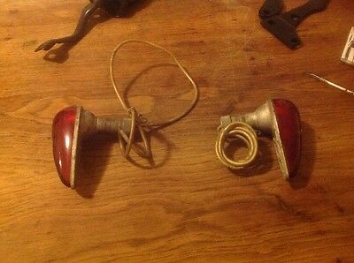 A Pair Of Vintage Glass Red Marker Lights Good Shape